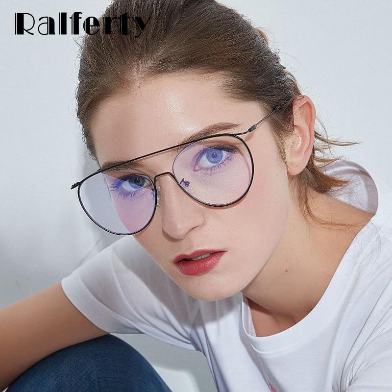 19d8ded17a Detail Feedback Questions about Ralferty Unique Round Eyeglasses Frames  Women Metal Eyewear Frame Oversized Prescription Glasses Myopia Optical Big  Black ...