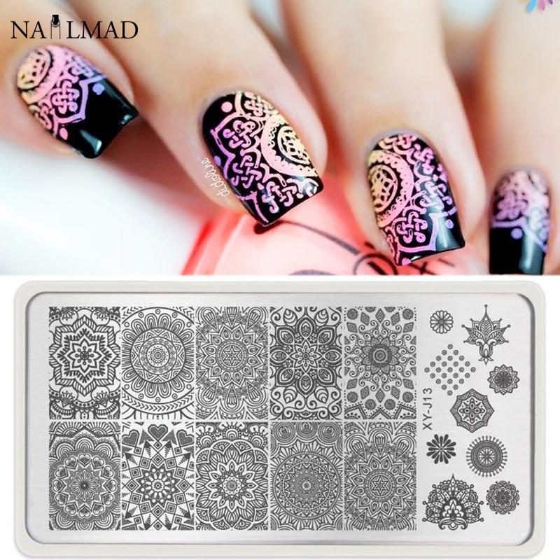 1pc Mandala Nail Art Stamp Plate Mandara Plate Paisley Stamping Image Plate Damast Nail Stamping Plate XY-J13
