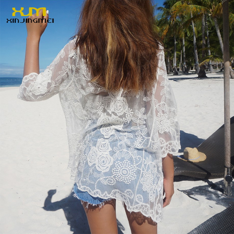 New Summer Beach Cover Up White Lace Swimsuit Bikini Cover Up Swimwear Sexy Beach Dress Crochet Beach Wear TS046
