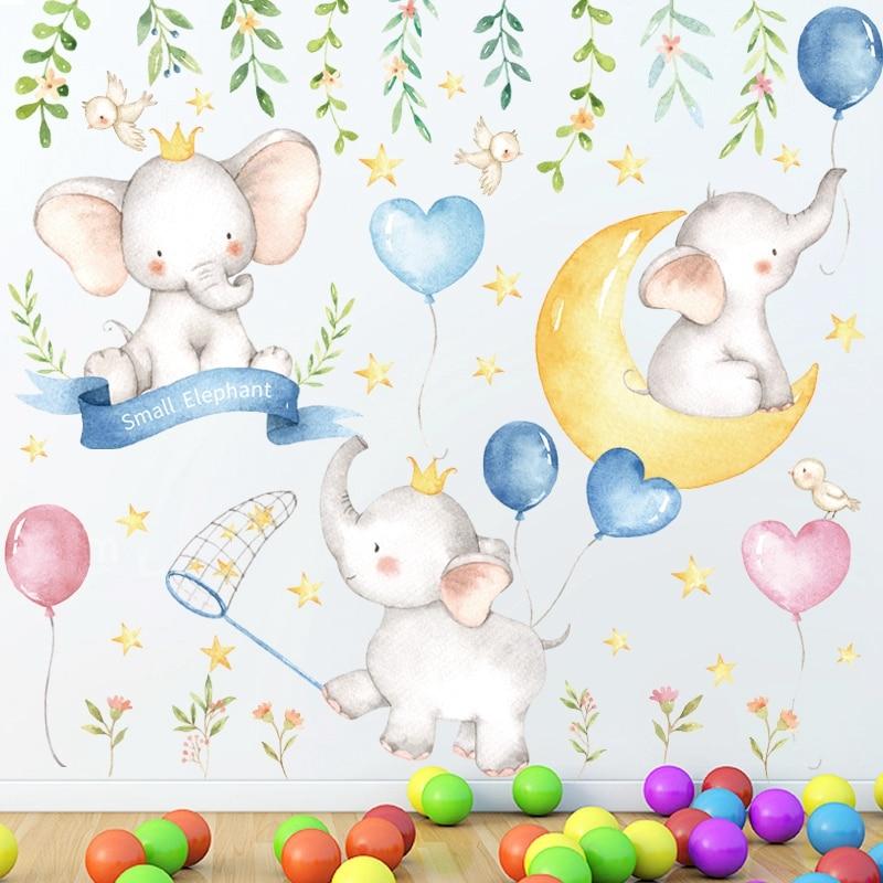 Desenhos animados pequeno elefante lua estrelas adesivos de parede quarto crianças quarto do berçário decoração da sua casa decalques parede removível arte murais