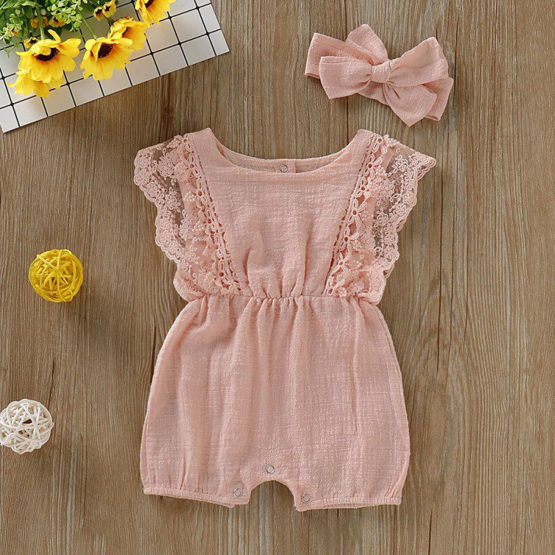 Summer Newborn Girls Rompers Set Flare Sleeve Solid Print Lace Design Romper Jumpsuit With Headband One Summer Newborn Girls Rompers Set Flare Sleeve Solid Print Lace Design Romper Jumpsuit With Headband One-Pieces