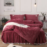 4Pcs AB flannel fabric luxury bedding sets queen king size duvet cover set bed skirt set pillowcase bedclothes
