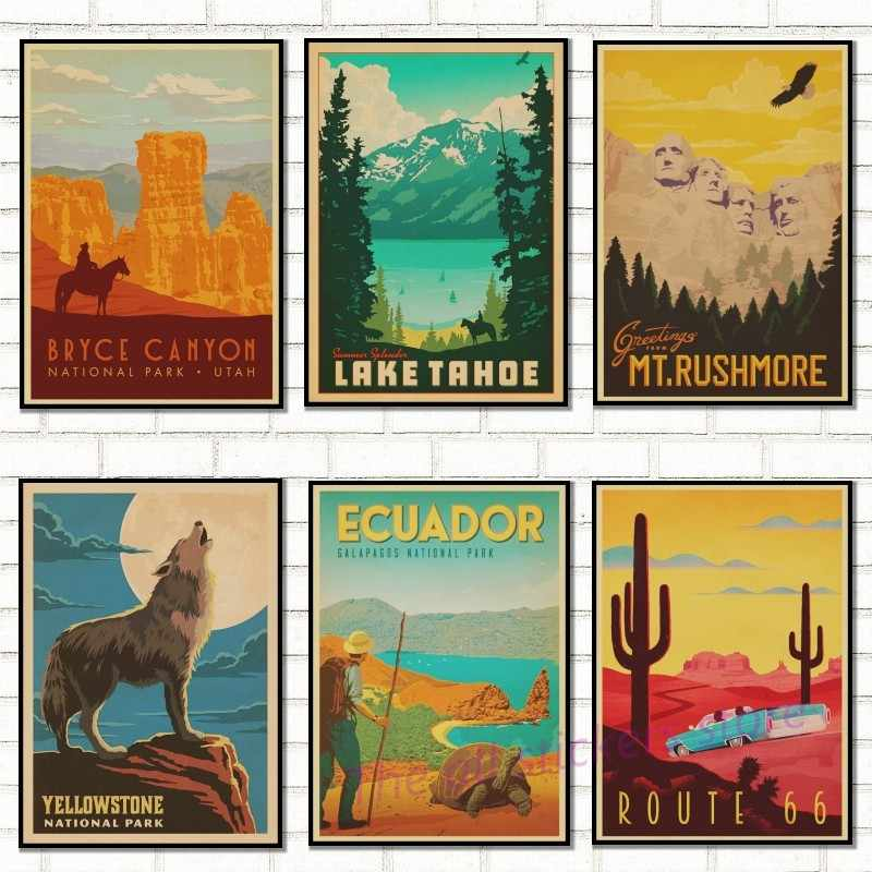 famous scenery Retro Kraft Travel Poster Decorative  Wall Sticker Home Bar Posters Decoration Kid Gift/9003