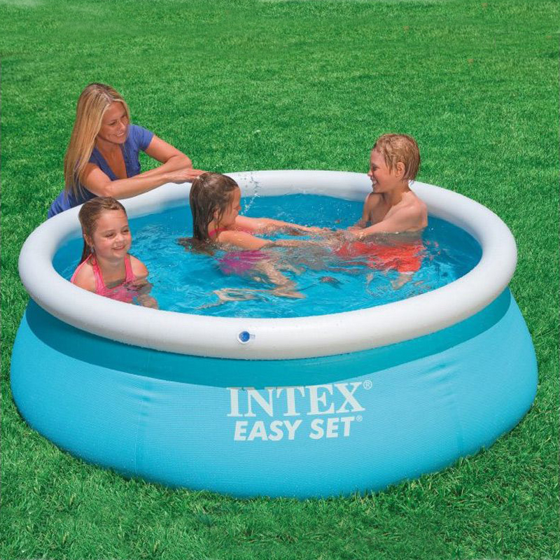 183cm family inflatable pool above ground swimming pool kid adult children blue garden outdoor play pool