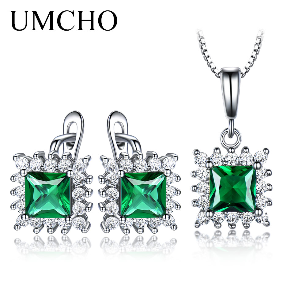 UMCHO Real 925 Sterling Silver Jewelry Sets Created Emerald Clip Earrings Necklace Pendants Elegant Gift For Women Fine Jewelry