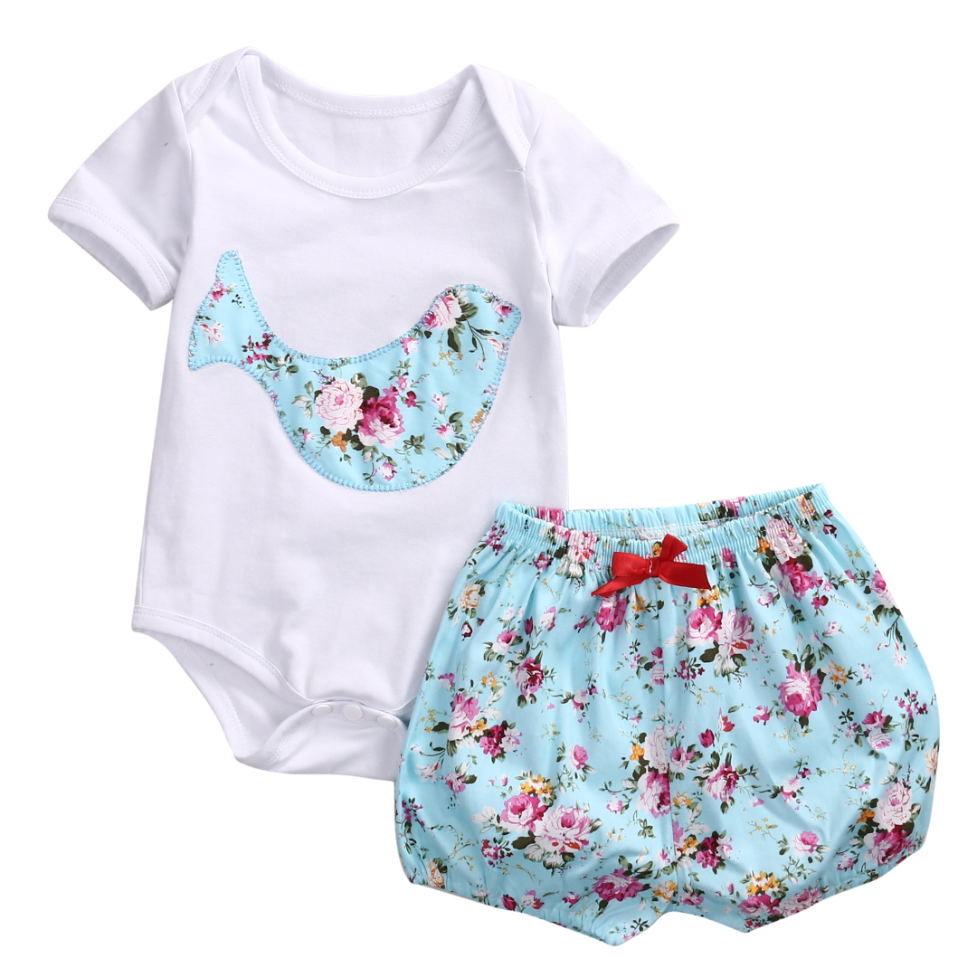 Sky blue Shorts Newborn Baby Boy Girl Romper Clothes Floral Infant Bebes Cotton Romper Bodysuit +Bloomers Bottom 2pcs Outfit 2017 floral baby romper newborn baby girl clothes ruffles sleeve bodysuit headband 2pcs outfit bebek giyim sunsuit 0 24m