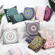 Bohemian Super Soft Velvet Cushion Cover Pink Blue Home Decor Pillowcase For Sofa Bed Mandala Printed 45*45cm Throw Pillow