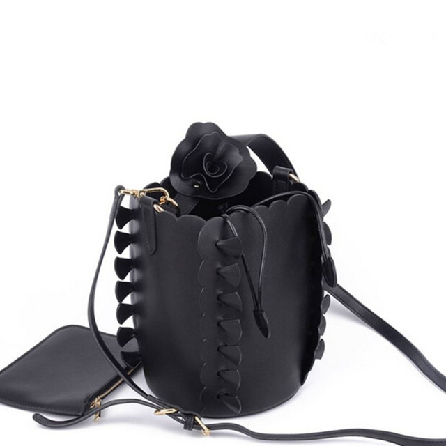 Fashion Women Leather Shoulder Bag Ladies Evening Bag Bride Tote Bag Casual  Flowers Bucket Handbag Female 245c92ee23bed