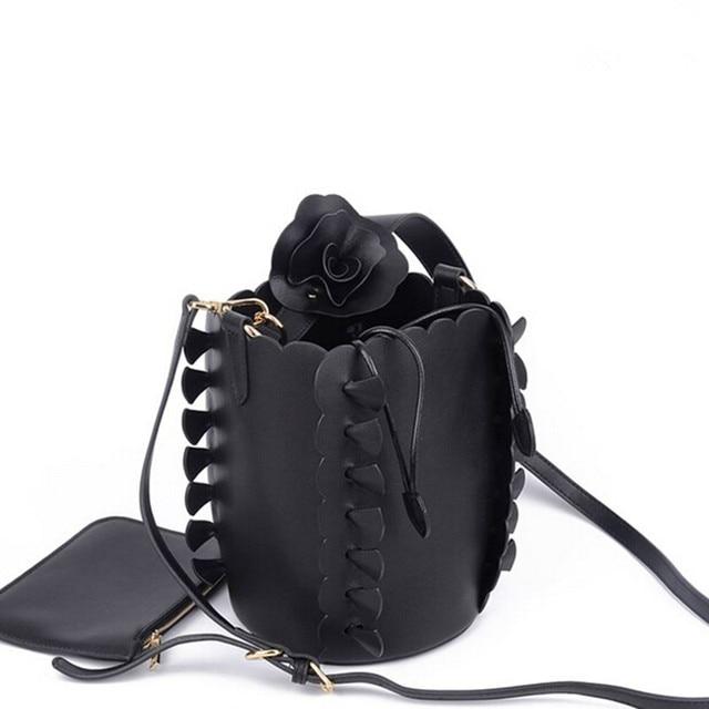 dbc2cbad01be Fashion Women Leather Shoulder Bag Ladies Evening Bag Bride Tote Bag Casual  Flowers Bucket Handbag Female