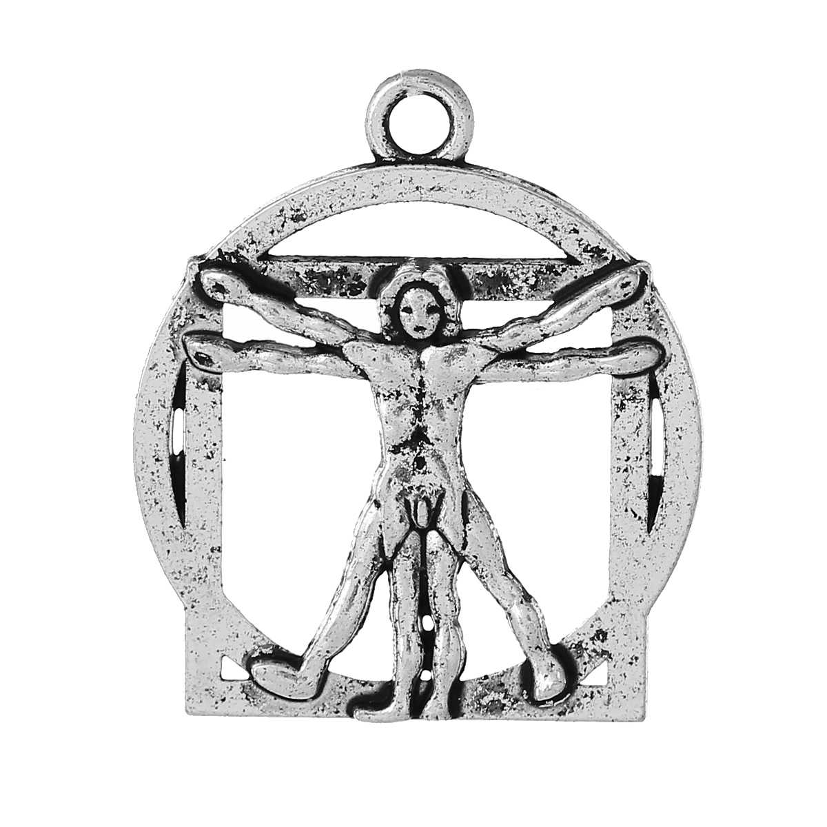 "DoreenBeads Zinc metal alloy Charm Pendants Round Antique Silver Person Carved Hollow 25mm(1"") x 22mm( 7/8""),1 Piece 2017 new"