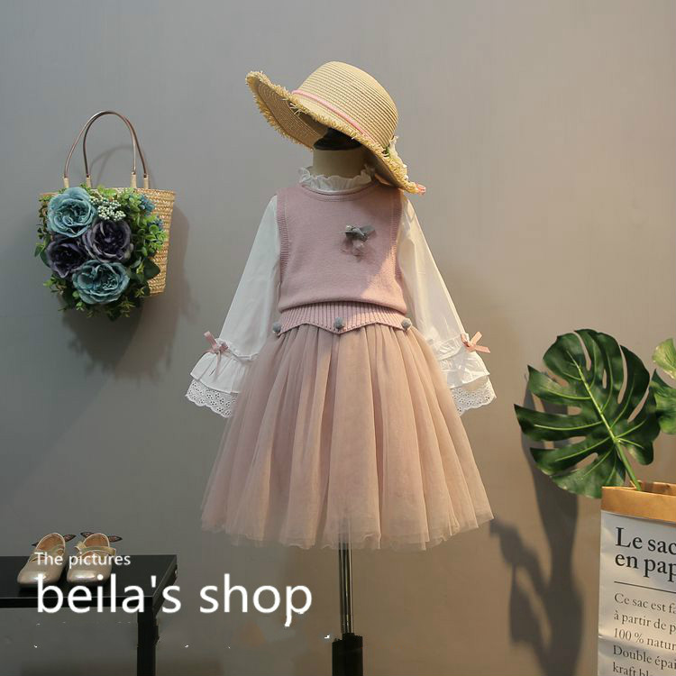 2018 spring new girls sweet knit vest with embroidered bow knot splicing gauze dress 2-piece suit girls cute knitted sweater with skirt kids set wear sweet style with bow knot for spring