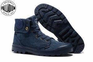 Image 1 - PALLADIUM Pallabrouse Zapatillas de tela vaquera para hombre, botines militares, informales, talla Europea 39 45, color azul