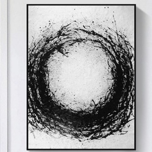Artist Hand-painted High Quality Modern Abstract Black and White Oil Painting on Canvas Handmade Large