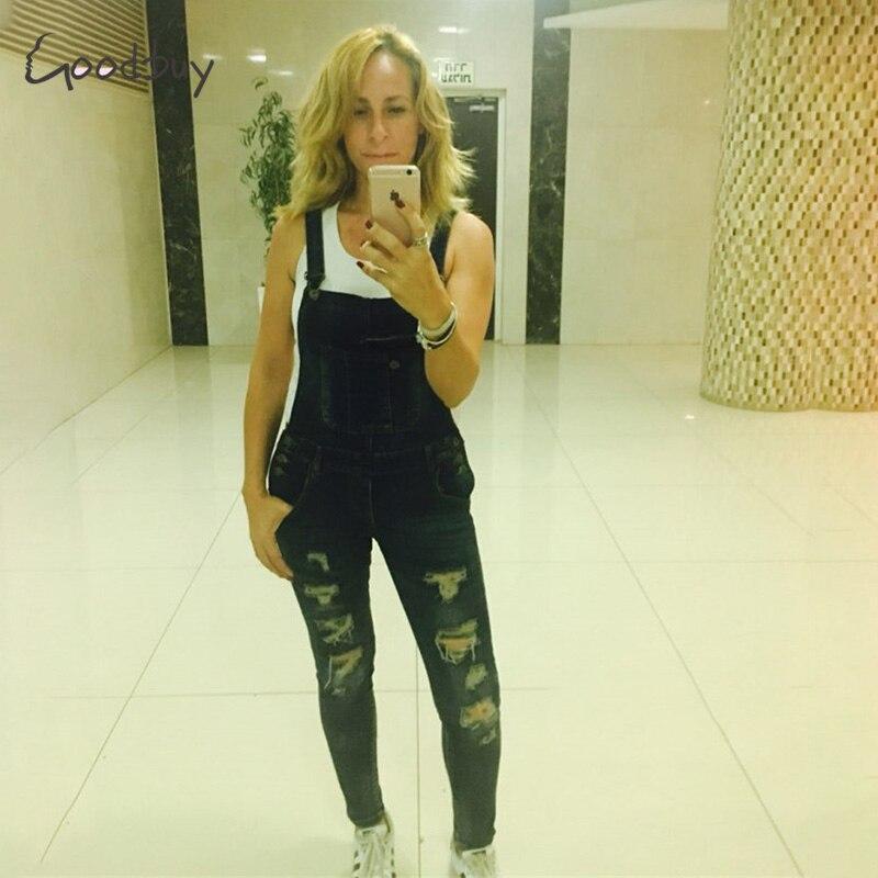 Goodbuy 2017 летние женские джинсовые комбинезоны комбинезоны сексуальные джинсы офисные случайные отверстия карман весна карандаш брюки femme реальные фото