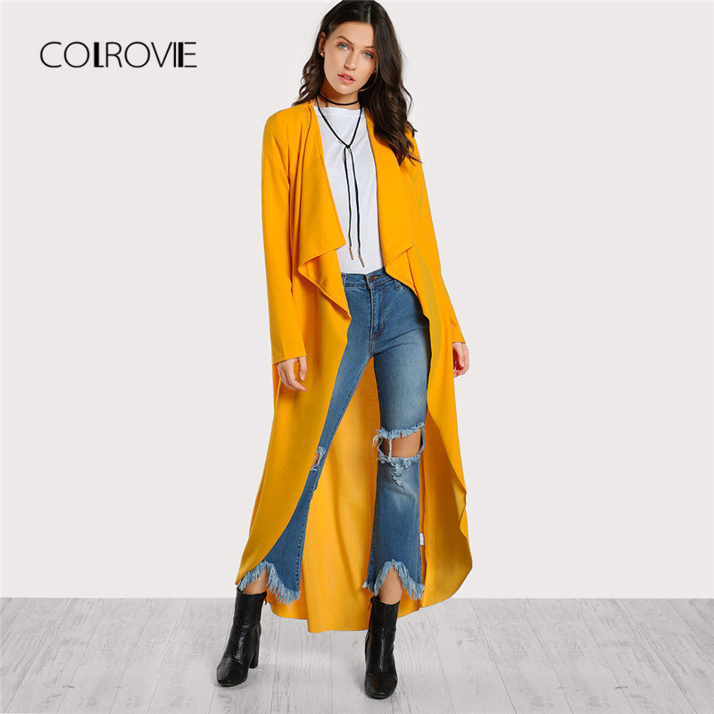 COLROVIE Yellow Solid Drape Collar Curved Basic Cardigan   Trench   Coat Women Outwear 2018 New Autumn Waterfall Elegant Long Coat