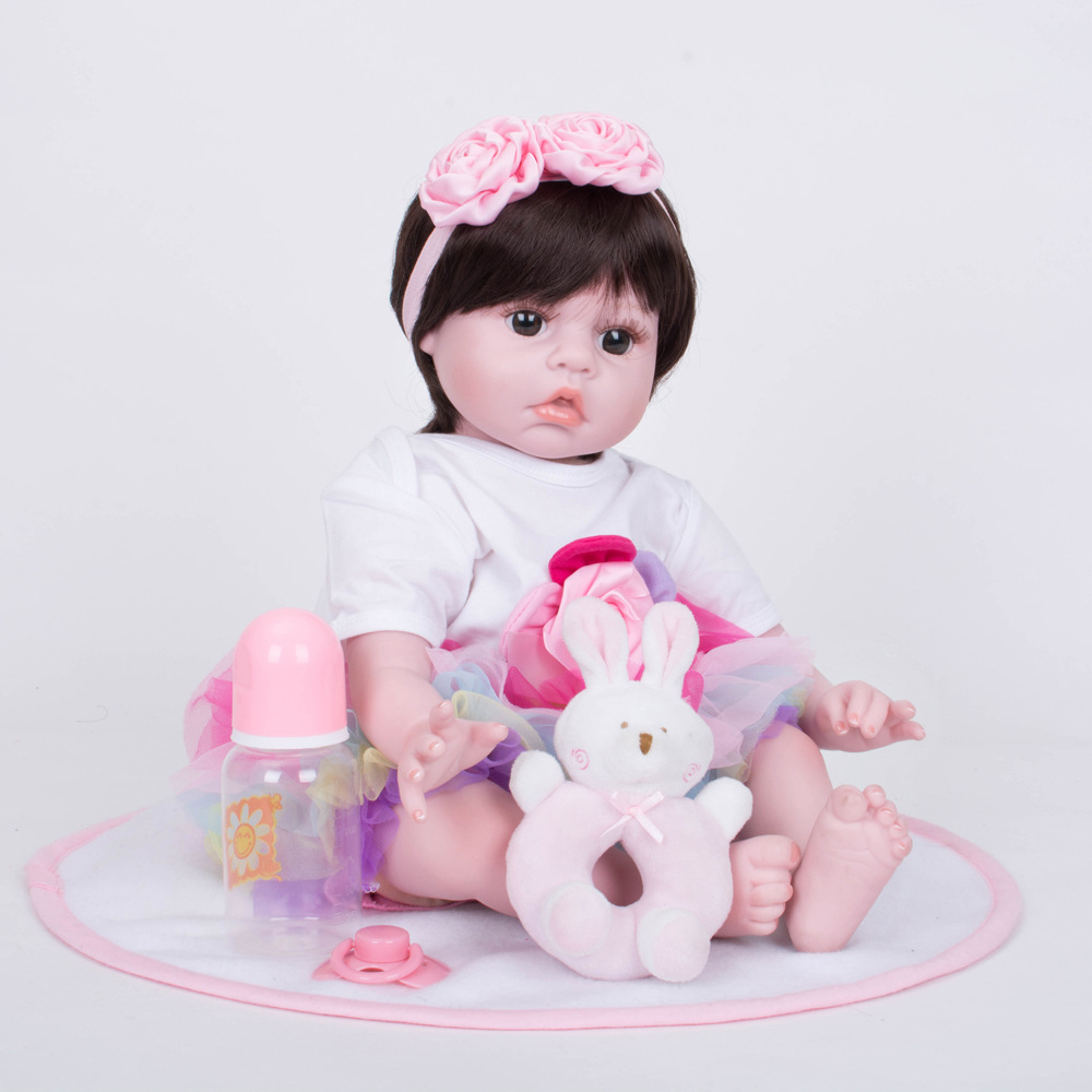 55cm Realistic Reborn Girl Doll Soft Silicone Newborn Baby with Cloth Body Toy for Children Birthday Xmas Gift Bebe цены