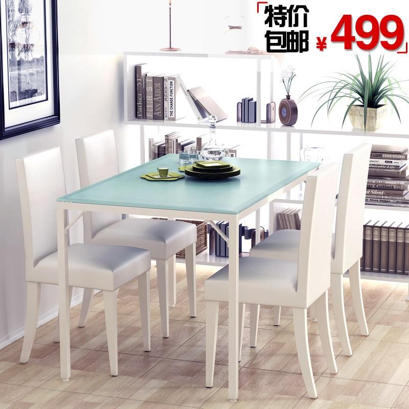 Más verde habitable vidrio mesa de comedor + comedor sillas de ...