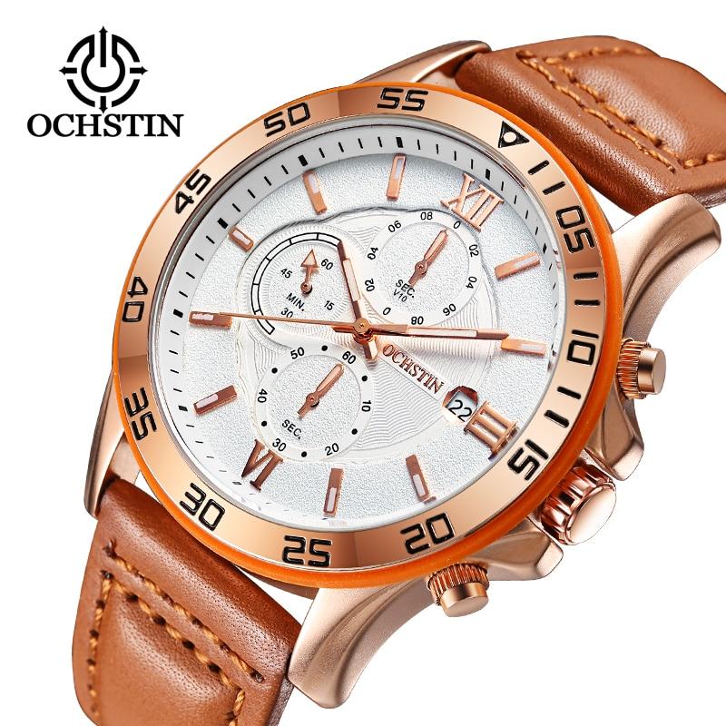 Ochstin spor erkek saatler top marka lüks erkek deri chronograph kuvars askeri bilek İzle erkekler saat saat montre horloge
