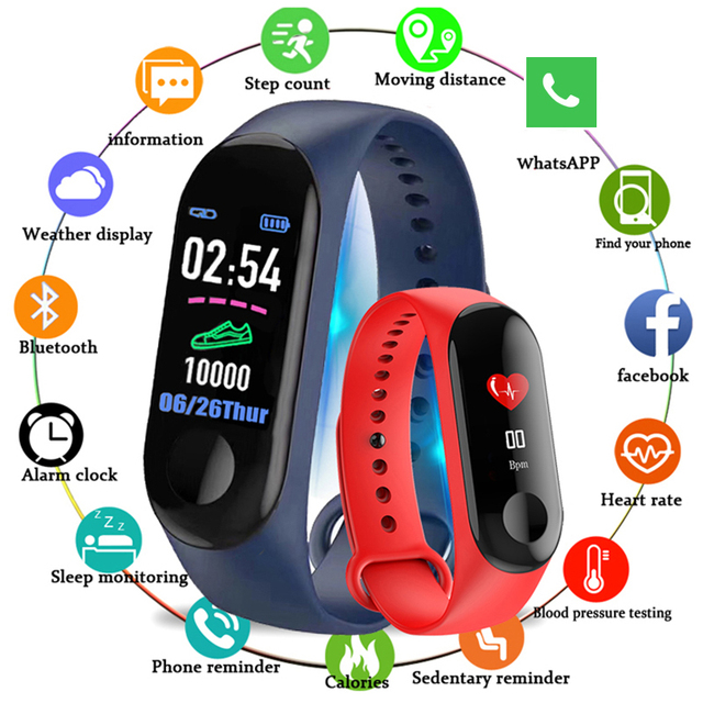 Kivbwy Bluetooth ספורט חכם צמיד להקת קצב לב לחץ דם עמיד למים כושר M3 חכם להקת גשש כושר מד צעדים