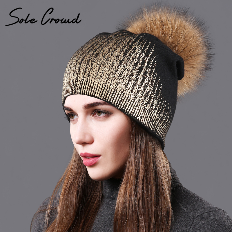 [Sole Crowd] Women fashion bronzing silver knitted hats winter warm double layer caps real raccoon fur pompom female hat   beanies