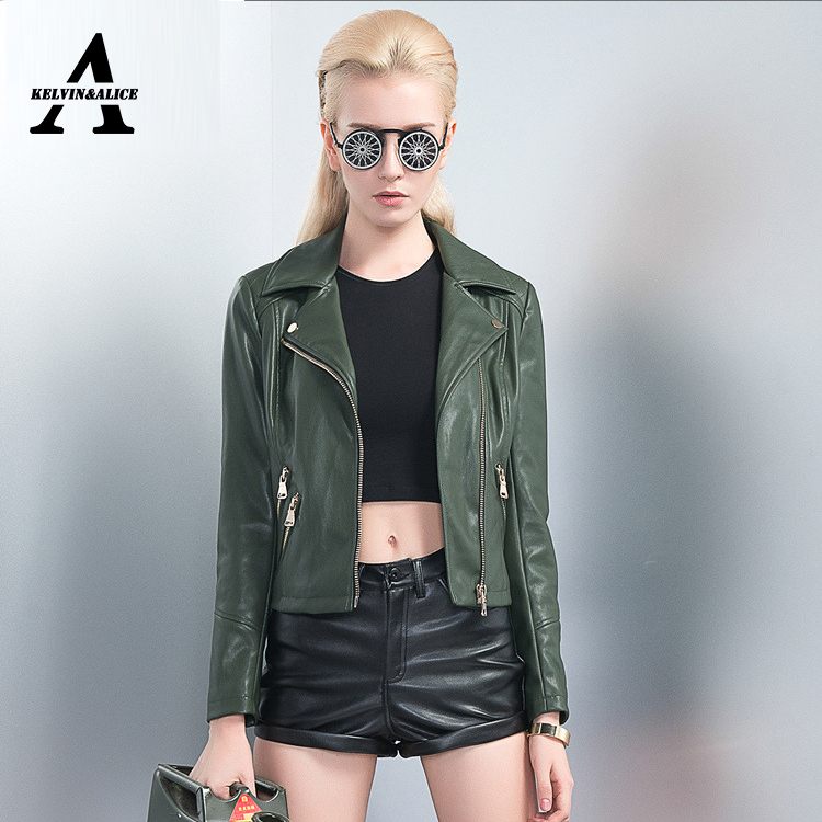 Aliexpress.com : Buy Green Soft Brand Leather Jacket Women Veste ...
