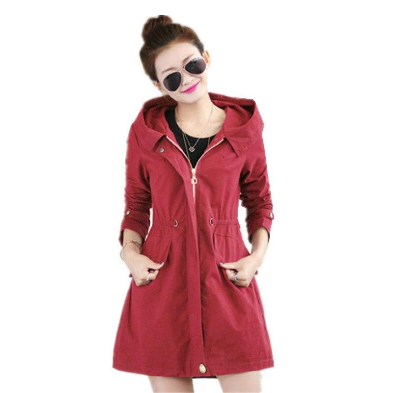 Women   Trench   Coat 2017 Spring Autumn Women's Overcoat Female Long Hooded Coat Zipper Plus Size Slim Was Thin Cotton Outwear C201