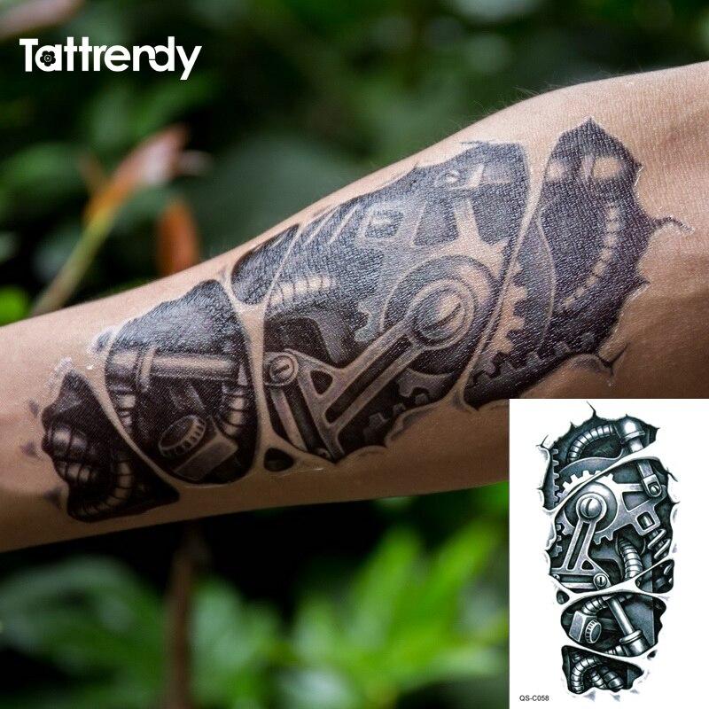 Временные татуировки 3D черная механическая рука робота временные Переводные татуировки наклейки Горячая сексуальная крутая Мужская спрей водонепроницаемый дизайн C058