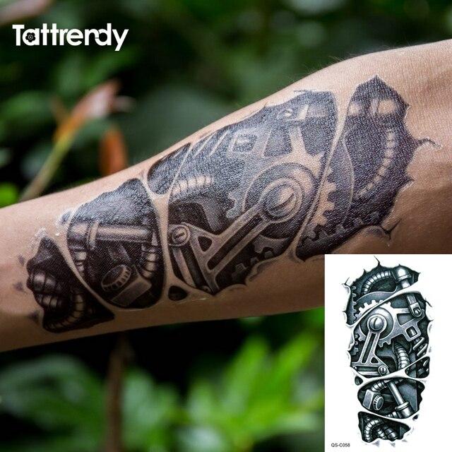 Tymczasowe tatuaże 3D czarny Robot mechaniczne ramię fałszywy transfer naklejki z tatuażami gorąca, seksowna fajna mężczyźni spray wodoodporne wzory C058