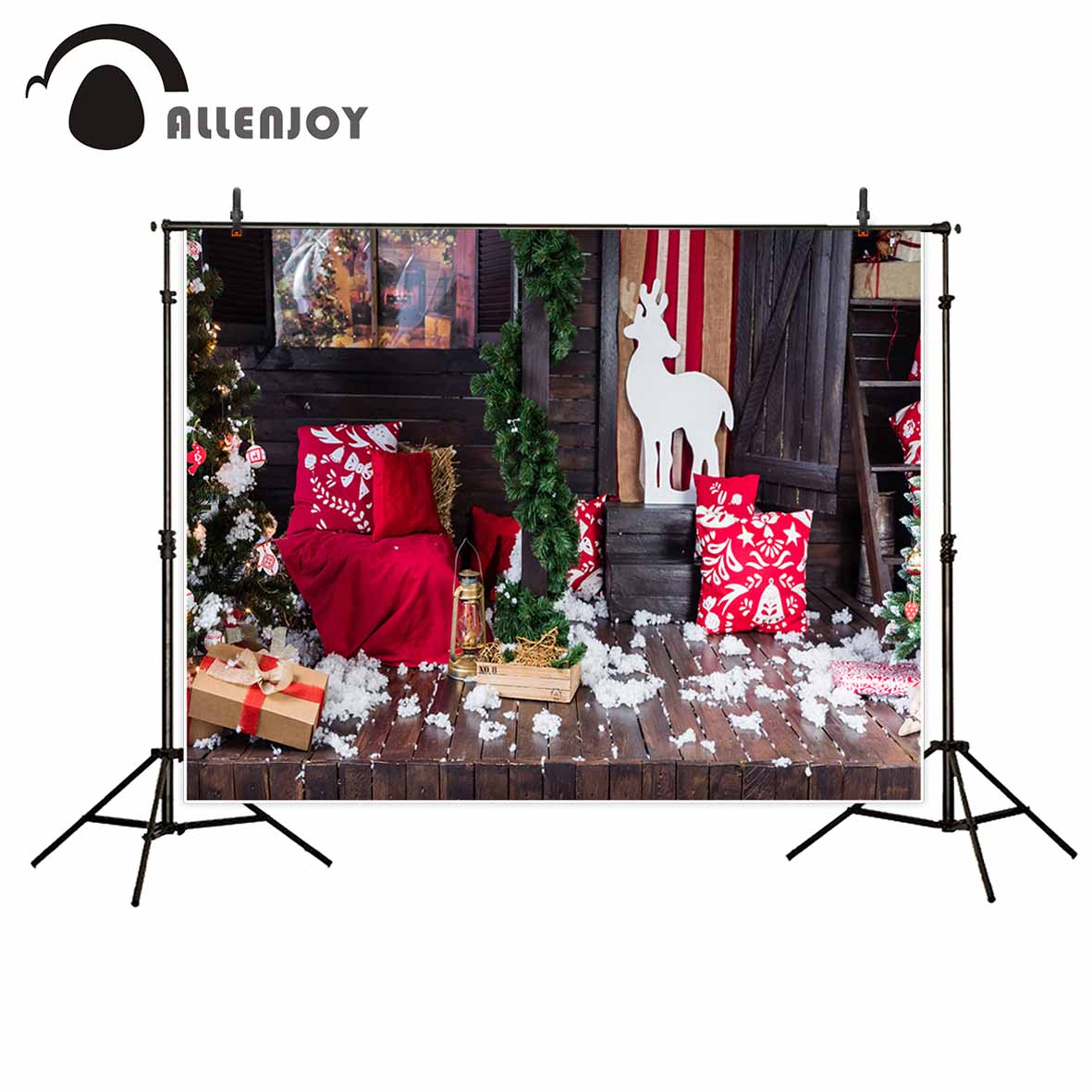 Allenjoy Christmas background indoor toy elk tree gifts window photography backdrops photo backdrop photography backdrops allenjoy christmas backdrop tree gift chandelier fireplace cute professional background backdrop for photo studio
