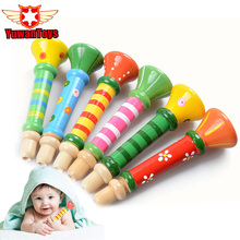 Wooden Toys Hooter Horn Educational Musical Instrument  Mini Kids Baby Toys Musical Instrument Colorful Wooden Trumpet