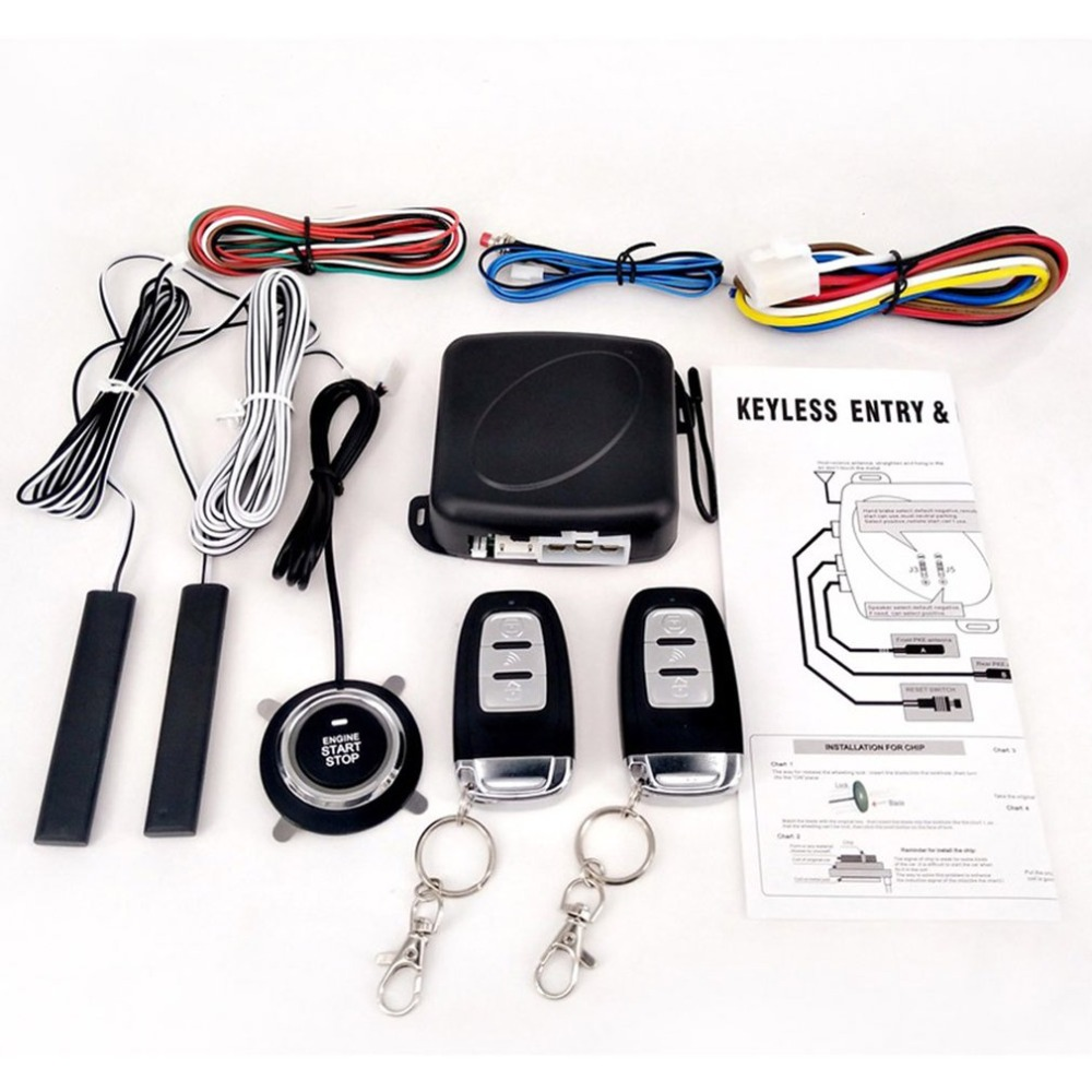 New Passive Keyless Entry System Pke Engine Starter Push Button Vehicles Start/stop Kit Safe Lock With 2 Smart Key Complete Range Of Articles