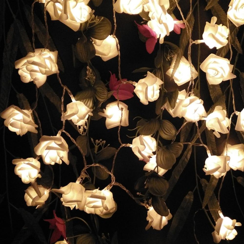 YIYANG 6pcs/lot Soft Wedding Rose LED String Lights AA Battery Rosa Boda Festival Party Holiday Supplies Lamps Lumiere Boda Luz