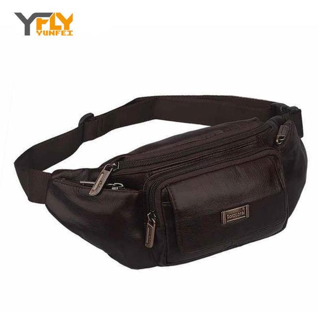 Y-FLY Cinturón Bolsas de Cintura Bolsa de Los Hombres de Moda de Cuero Genuino Masculino Fanny Pack de Cintura Pequeña Manada de Crossbody Bolsa de Hombro pecho DB4011