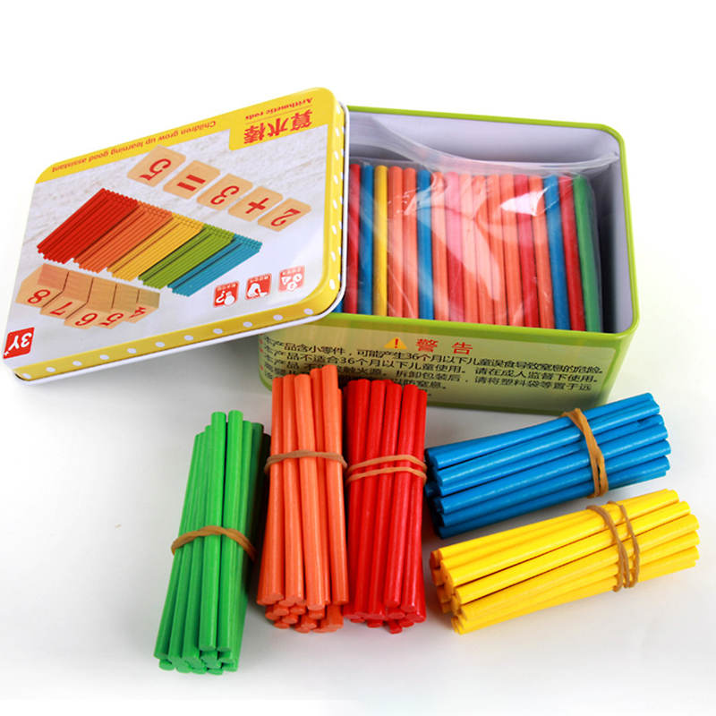 Have An Inquiring Mind 100pcs+27cps Baby Toys Upgrade Iron Box Counting Stick Wooden Toys Educational Arithmetic Rods Math Toys Child Birthday Gift Learning & Education
