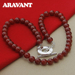 Hot Sale Women 925 Silver Necklaces Four Color Pearl Necklaces Female Wedding Jewelry Gifts