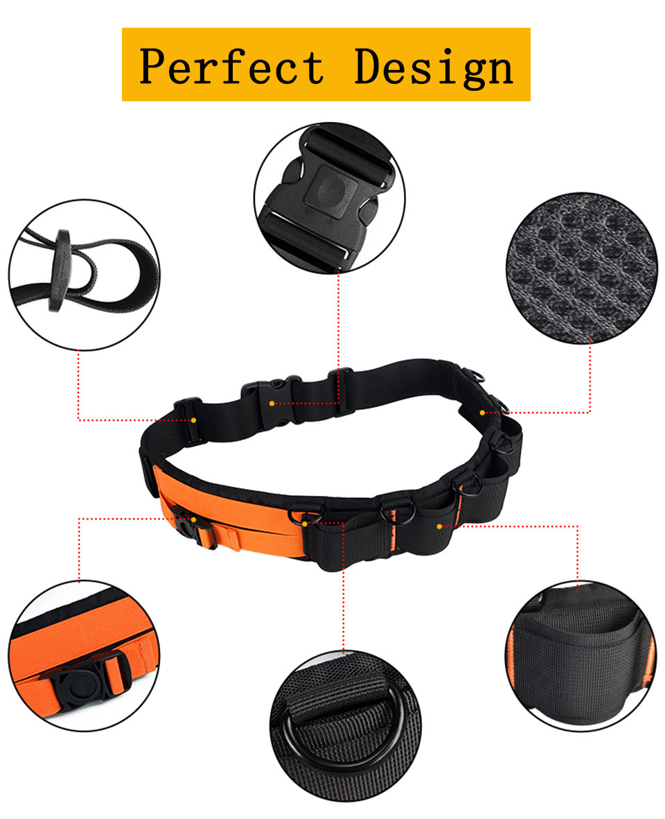 Caden Photo Camera Waist Belt Adjustable Nylon Strap Orange Camera Strap Soft Padded Lens Pouch Case Tripod Holder