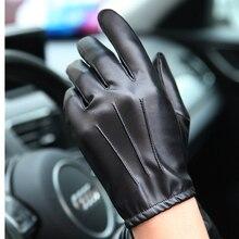 Svadilfari guante de piel de oveja para hombre, manoplas masculinas de cuero auténtico, corto Delgado/grueso, color negro, para conducir en el gimnasio, 2018