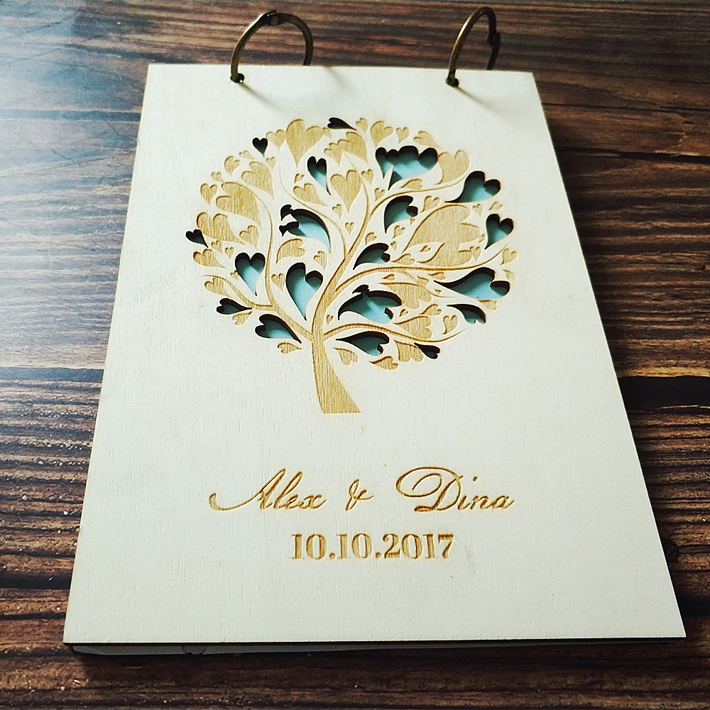 Wedding Tree Guest Book: Wood Personalized Custom Name Date Wedding Tree Guest Book
