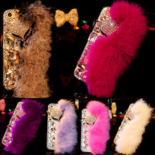 Fashion Fluffy Warm Soft Fur Skin Case For iphone 6 6s 7 Plus Funda Cute Cartoon DIY Bling Diamond Fox Phone Cases Hard PC Cover