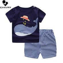 Kids Boys Sets Summer Cartoon Print Short Sleeve O-Neck Cute T-Shirt Tops with Shorts Baby Boys Girls Children Infant Clothes