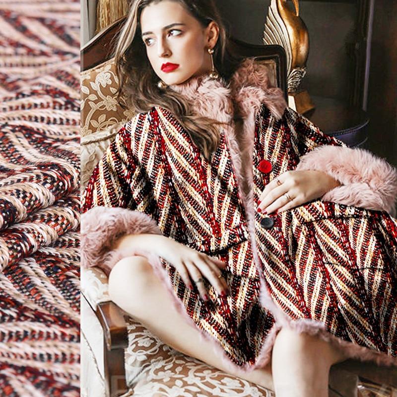 Flashy life customer supplied Herringbone yarn dyed jacquard wool fabric for coat christmas tissu au metre telas patchwork tissu