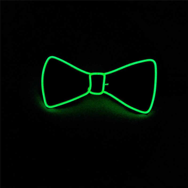 الرجال متوهجة ربطة القوس فيونكة EL سلك نيون LED مضيئة حفلة هالوين عيد الميلاد مصباح مضيء حتى الديكور بار نادي المرحلة الدعامة الملابس