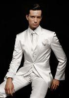 Latest Coat Pant Designs Ivory White Satin Custom Tuxedo Groom Wedding Men Suits 3 Piece Skinny Beach Terno Jacket+Vest+Pants