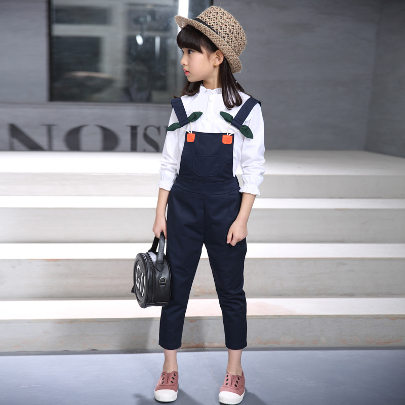 2018 New Spring Teenage Girls Clothing White Petal Long Sleeve Girl Blouse+Bow Tie Overalls 2Pcs Casual Fashion Girl Clothes Set petal sleeve self tie blouse