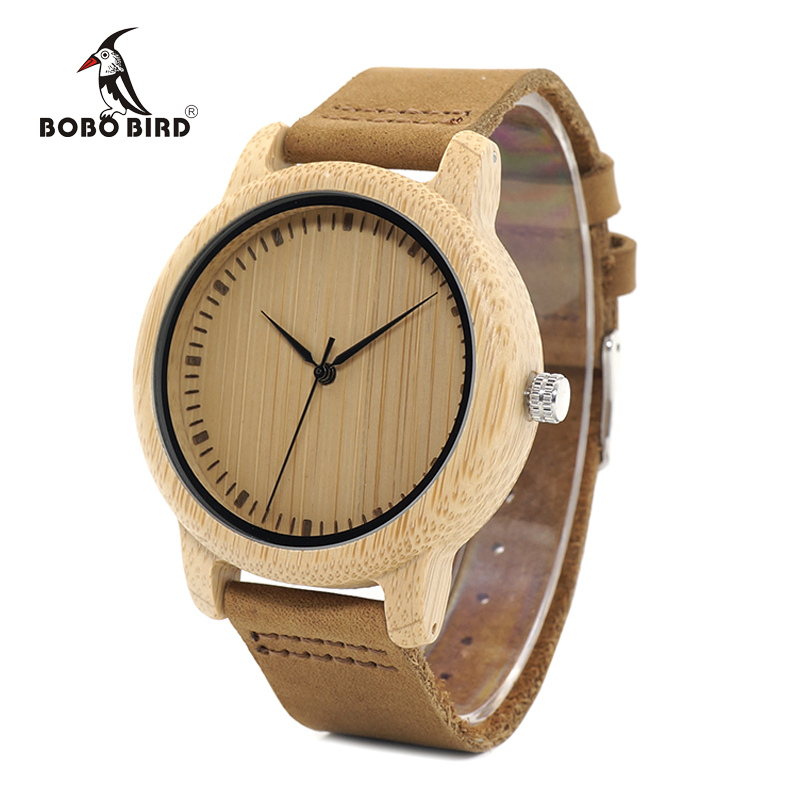 BOBO BIRD WA15RU Casual Antique Round Bamboo Wooden Watch For Men With Leather Strap Lady Watches Top Brand Luxury OEM