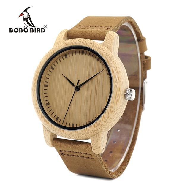BOBO ptak WA15RU dorywczo antyczne okrągłe bambusa drewniane zegarek dla mężczyzn ze skórzanym paskiem pani zegarki Top marka luksusowe OEM