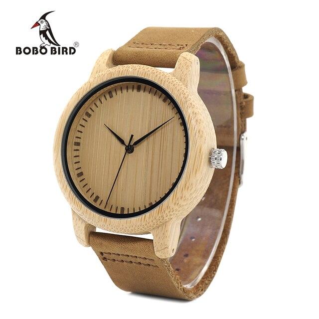 ボボ鳥 WA15RU カジュアルアンティークラウンド竹木製腕時計で男性のためのストラップ女性はトップブランドの高級 oem