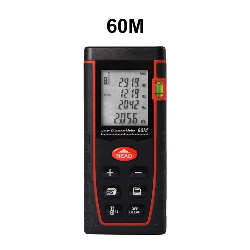 60m LCD Digital Laser Distance Meter Handheld Tape Rangefinder Diastimeter w/ Backlight BI695-SZ kaman mk 60 1 8 lcd handheld laser distance meter rangefinder black red multi colored