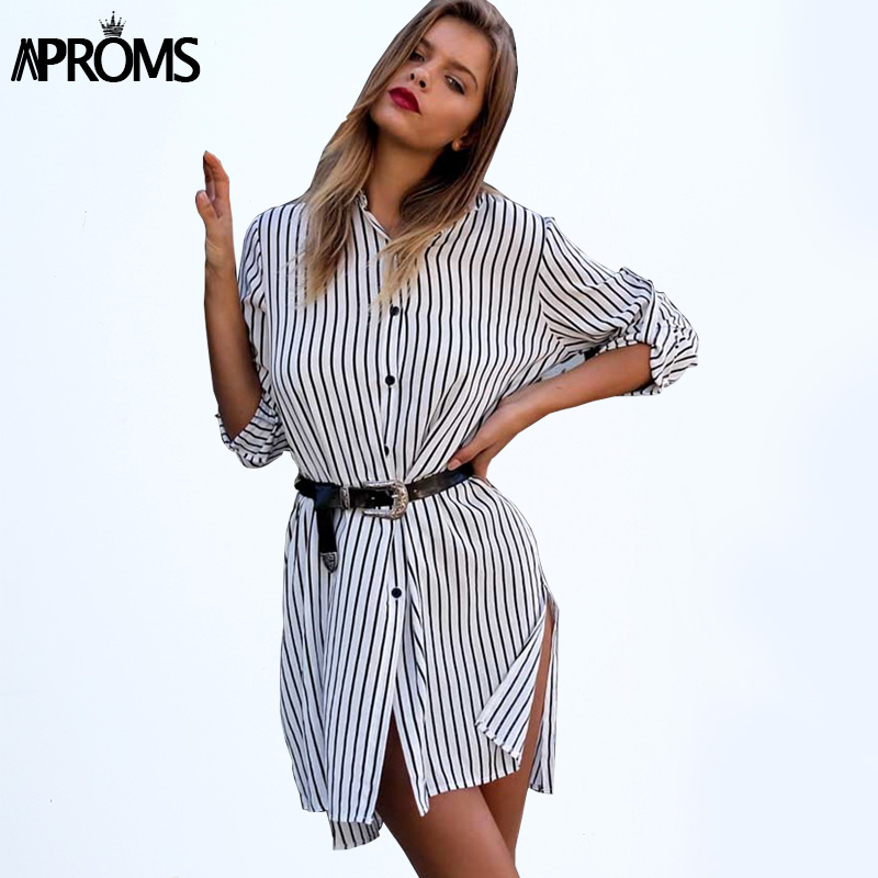 Aproms high street fashion long striped blouse womens Casual BF Loose Shirt White beach Tops for Women clothing vestidos