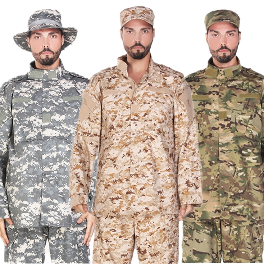 17Color Army Military Uniform Tactical Suit Camouflage Combat Shirt ACU Clothing Pant Set Men Soldier Special Forces Uniforms